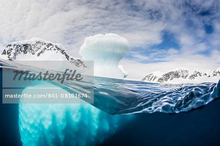 Above and below water view of Danco Island, Errera Channel, Antarctica, Polar Regions