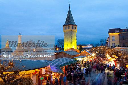 Christmas Market along Lindau's Historic Port, Lindau im Bodensee, Germany, Europe