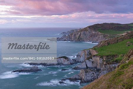 Fading sunset over the dramatic north Devon coast, Morte Point, Devon, England, United Kingdom, Europe