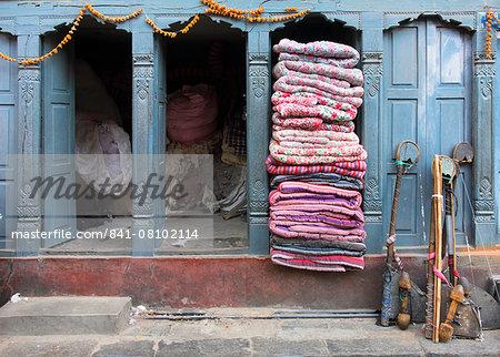 Traditional fabric shop in Kathmandu, Nepal, Asia