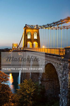 Menai Suspension Bridge at night, built in 1826 by Thomas Telford, Bangor, Gwynedd, Wales, United Kingdom, Europe