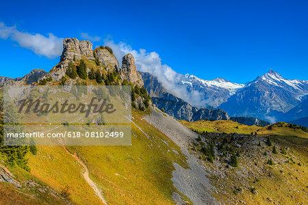 View at Oberberghorn and Schreckhorn