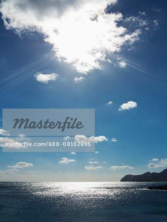 Sunlight Reflecting on Sea, Majorca, Balearic Islands, Spain