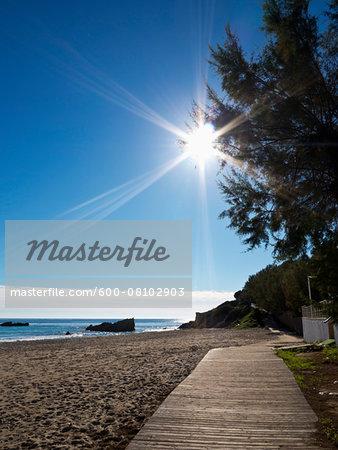 Boardwalk at Sandy Beach on Sunny Day, Cala Ratjada, Majorca, Balearic Islands, Spain