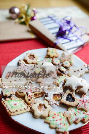 Christmas homemade gingerbread cookies in plate, Bavaria, Germany