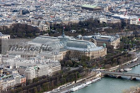High angle view of city, Grand Palais, Paris, France