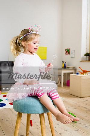 Girl playing fairy princess