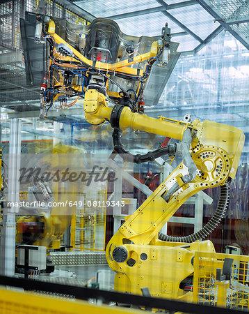 Car body welding robots in car factory