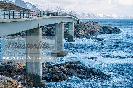 View of coastal bridge, Reine, Lofoten, Norway
