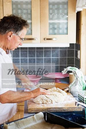Man preparing dough