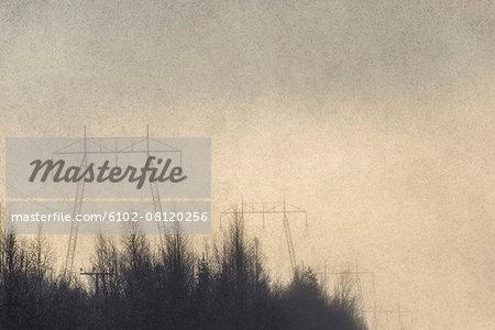 Power line against evening sky