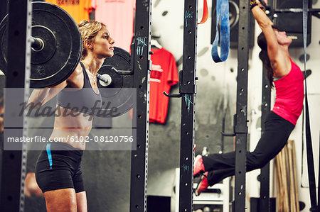 Women training in gym