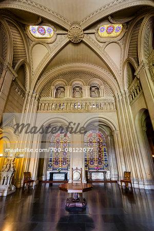 Grand Hall, Penrhyn Castle, Llandegai, Bangor, Gwynedd, Wales, United Kingdom