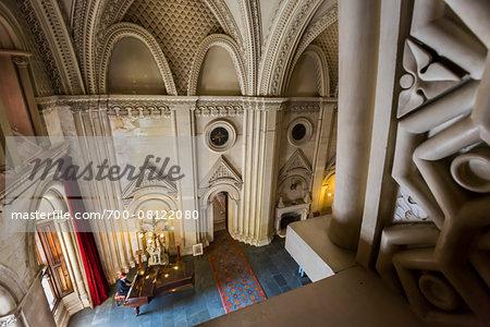 Piano in the Grand Hall, Penrhyn Castle, Llandegai, Bangor, Gwynedd, Wales, United Kingdom