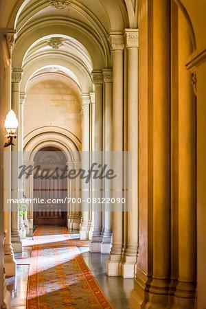Hallway with arches, Penrhyn Castle, Llandegai, Bangor, Gwynedd, Wales, United Kingdom