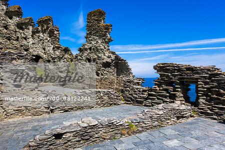 Remains of Tintagel Castle, Tintagel, Cornwall, England, United Kingdom