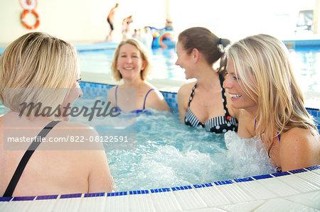 Women in Hot Tub Smiling