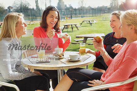 Women Having Breakfast at Outdoor Cafe