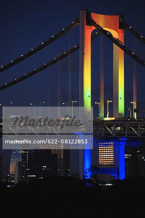 Night view of Rainbow bridge, Tokyo, Japan