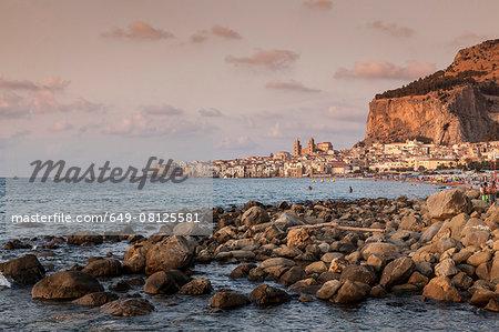 Rocks in Mediterranean sea, Cefalu, Palermo, Sicily, Italy