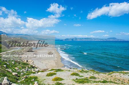 Long sandy beach of Petres, Crete, Greek Islands, Greece, Europe