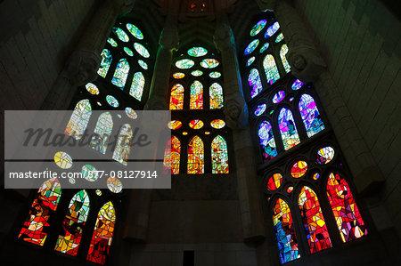 Sagrada Familia basilica. Stained glass. Barcelona. Spain.