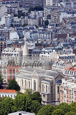 France,Paris, 15th arrondissement. Parc André Citroën. View Auteuil church since the tethered balloon.
