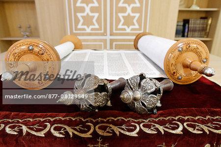 Torah scroll and the two Rimonim. France.