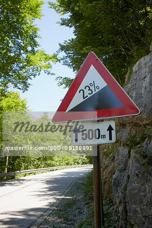 Steep Grade Sign, Upper Austria, Austria