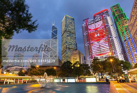 Statue square buildings illuminated at night, Hong Kong, China