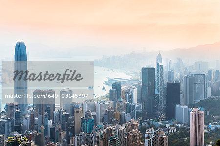 Central Hong Kong skyline and Victoria harbor, Hong Kong, China