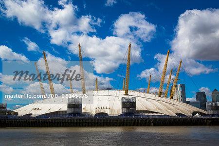 O2 Arena and Thames River, North Greenwich, London, England, United Kingdom