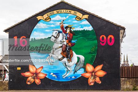 King William III Wall Mural, Protestant Loyalist Area, Belfast, Northern Ireland, United Kingdom