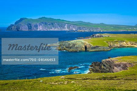 Scenic, coastal overview, Ballyferriter, Slea Head Drive, Dingle Peninsula, County Kerry, Ireland