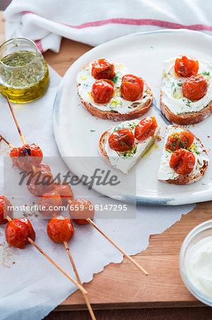 Bruschetta with roasted cherry tomatoes