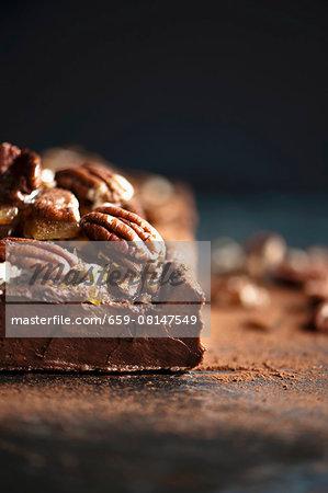 Dark chocolate terrine with pecan nut brittle (close-up)