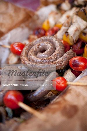 Grilled sausage spirals