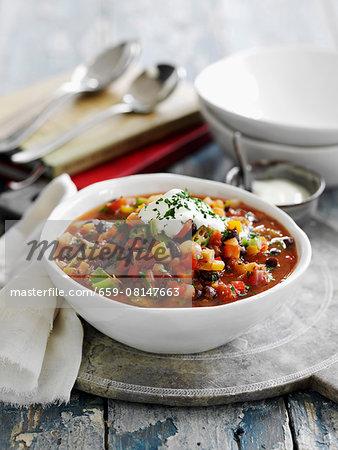 Bean soup with black beans and vegetables (Cajun cuisine, USA)