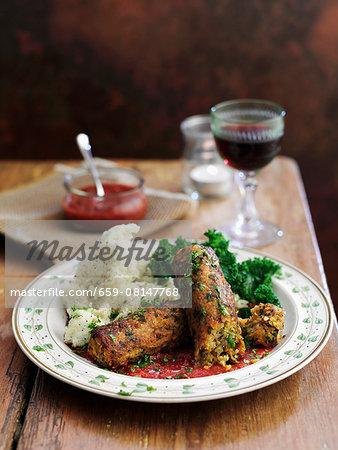 Glamorgan sausage (vegetarian sausage made from cheese, leek and bread crumbs, Wales)