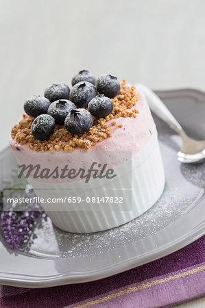 Lavender parfait with blueberries