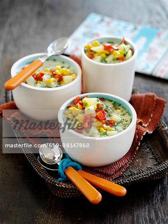 Corn chowder with coriander