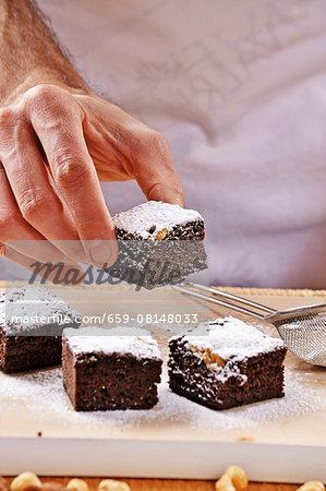 Brownies with icing sugar