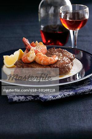 Beef steak with prawns