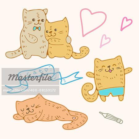 Illustration of funny cartoon kittens. Vector set.