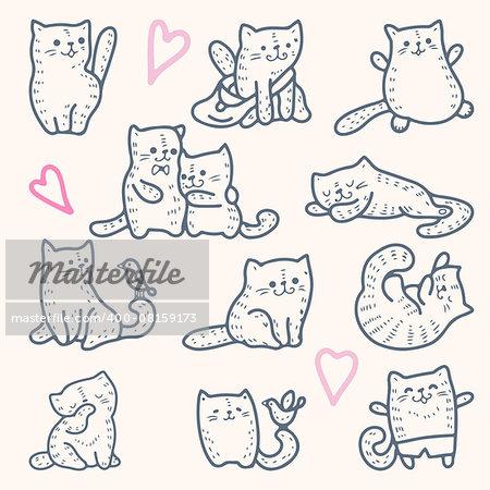 Illustration of funny cartoon kittens. Vector set. Monochrome drawing.