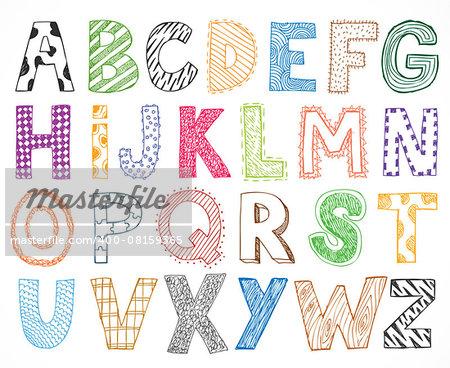 Children kids letter hand drawn cartoon alphabet set