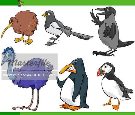 Cartoon Illustration of Funny Birds Set