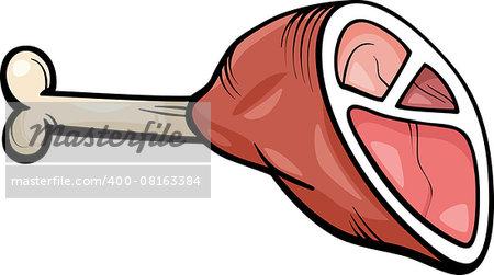 Cartoon Illustration of Ham or Haunch Meat Food Object Clip Art