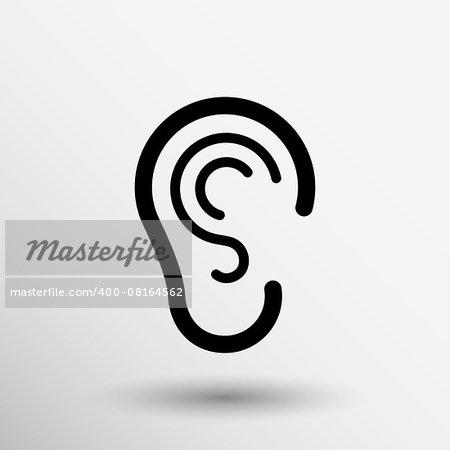 ear icon listen vector hear deaf human sign.