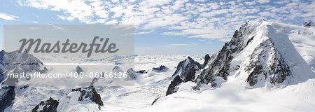 Panoramic high mountains climb landscape